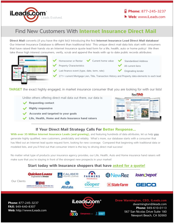 Internet Insurance Direct Mail Leads